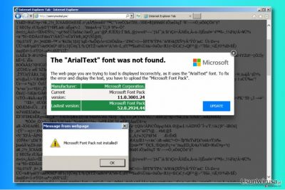 Reklamy ''The ArialText font was not found''