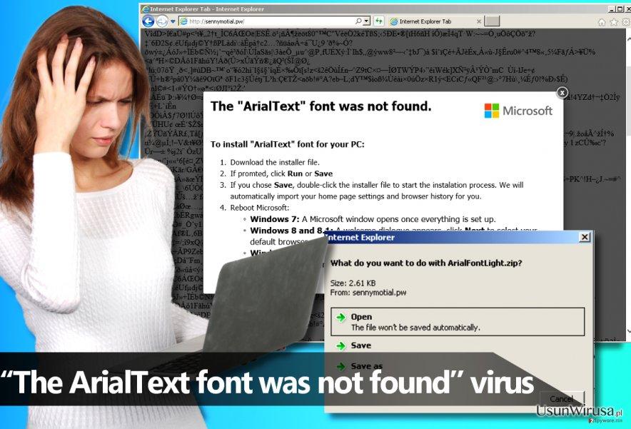 Oprogramowanie ''The ArialText font was not found''