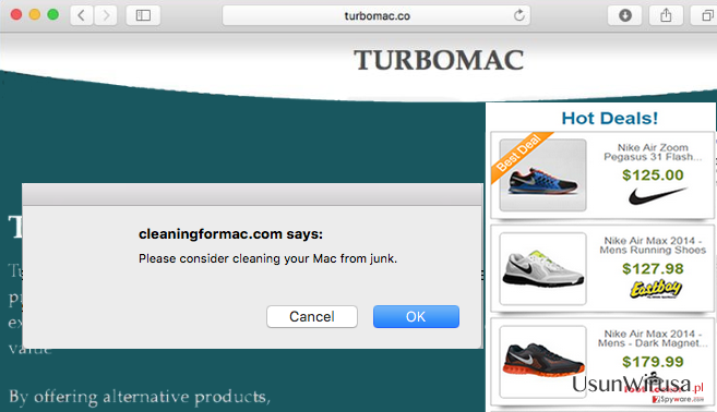 The official site of TurboMac virus and its ads