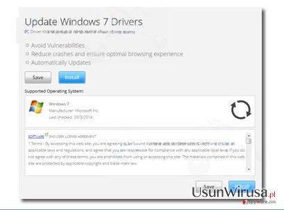 "Reklamy popup ""Update Windows 7 Drivers"" snapshot"