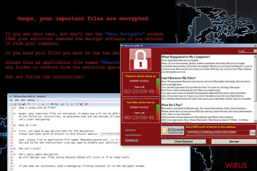 Wirus ransomware Wana Decrypt0r snapshot