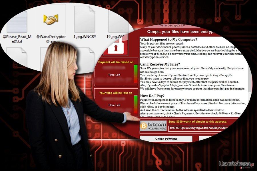 Zrzut ekranu komputera z zaszyfrowanymi plikami przez oprogramowanie Wana Decrypt0r 2.0