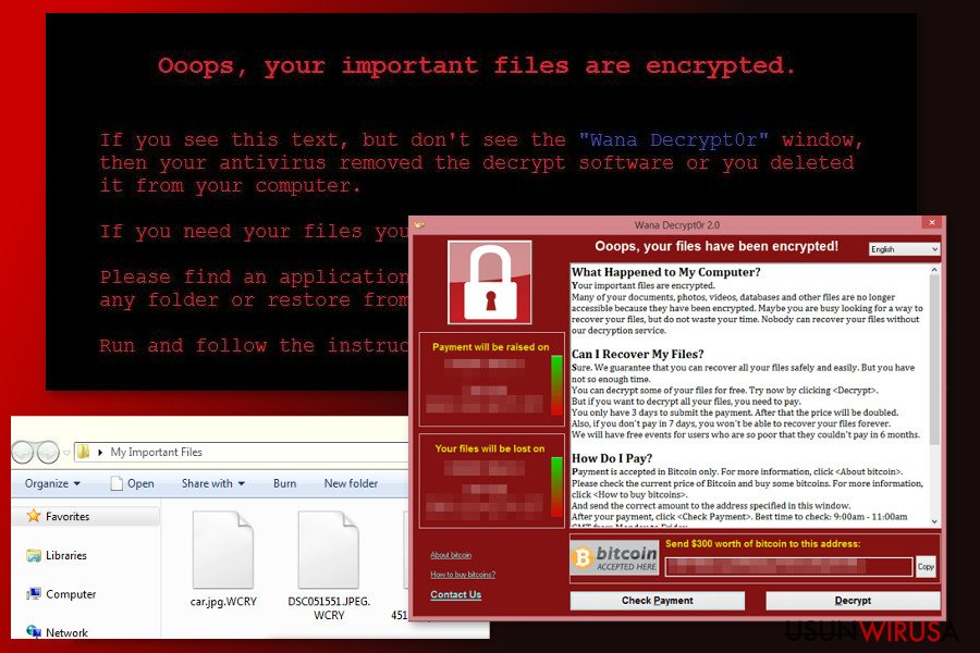The image of WannaCry 2.0 ransomware virus