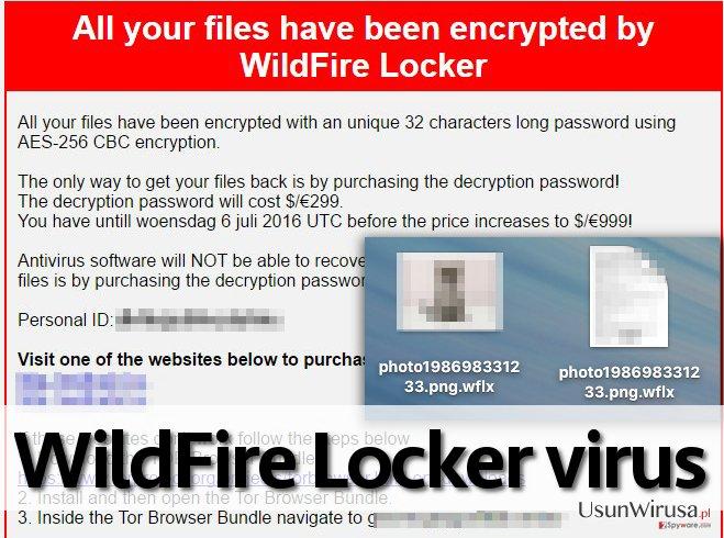 Wirus WildFire Locker ransomware snapshot