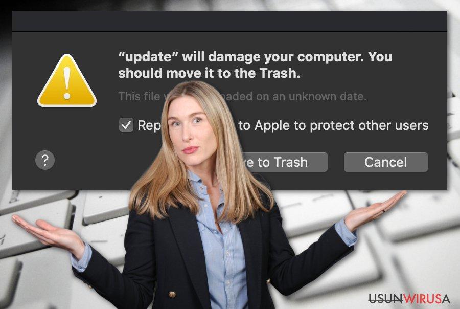 Spowoduje uszkodzenie komputera. Powinieneś przenieść go do Kosza