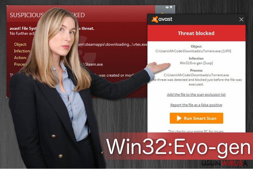 Ilustracja przedstawiająca ostrzezenie Win32:Evo-gen [Susp]