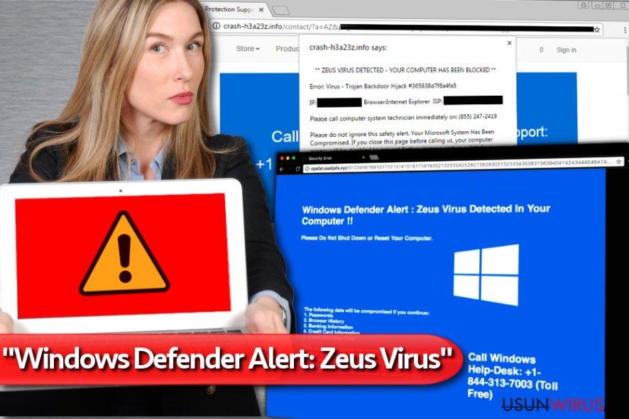 """Wirus-fałszywe wsparcie techniczne """"Windows Defender Alert: Zeus Virus"""" snapshot"""