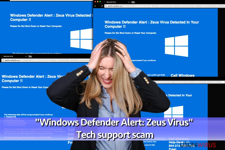 "Wirus-fałszywe wsparcie techniczne ""Windows Defender Alert: Zeus Virus"""