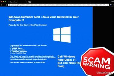 "Fałszywe wsparcie techniczne ""Windows Defender Alert: Zeus Virus"""