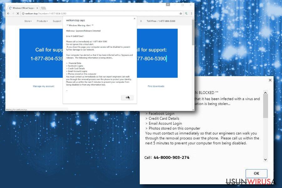 Obrazek oszustwa Windows Warning Alert