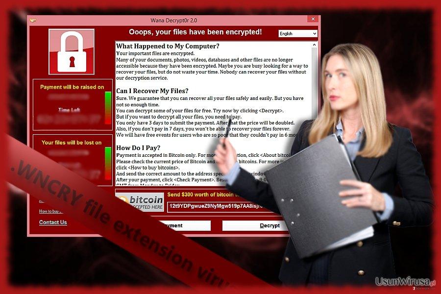 Screenshot wirusa WNCRY, znanego też jako WanaDecrypter