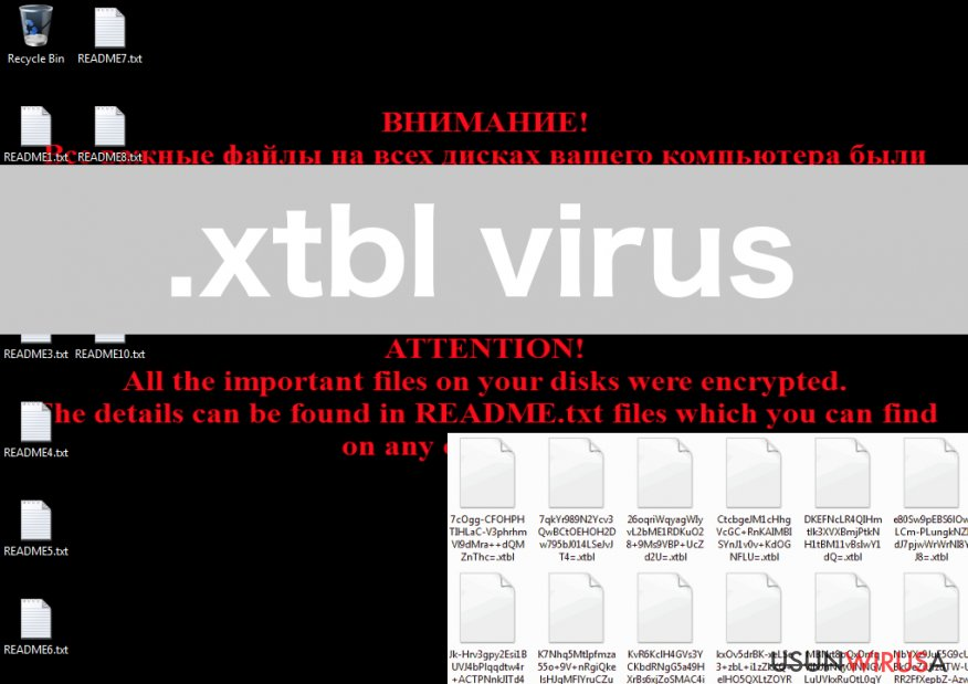 An illustration of the .xtbl virus ransomware