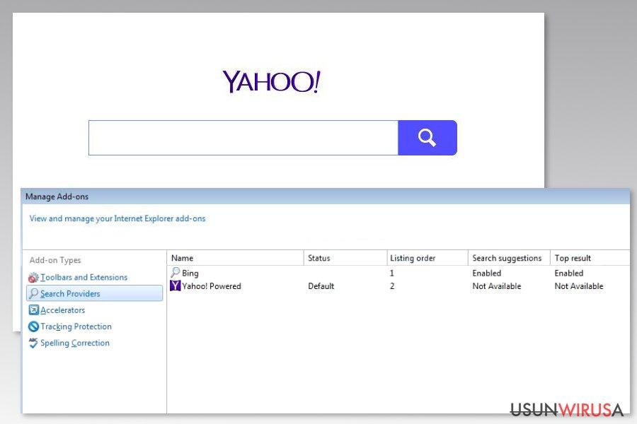 Obrazek prezentujący wirusa Yahoo Powered