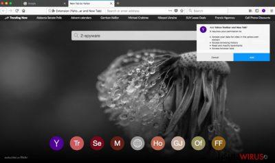 Pasek narzędzi Yahoo Toolbar w przeglądarce Firefox