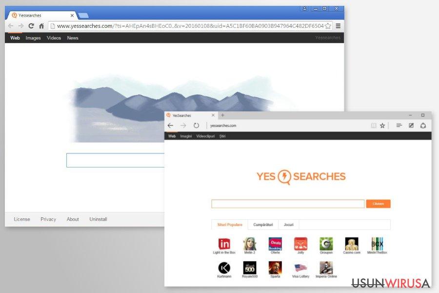 Przekierowania YesSearches.com snapshot
