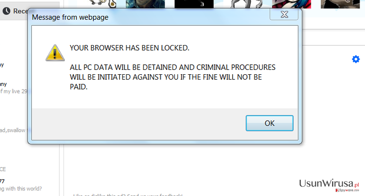 Your browser has been locked snapshot