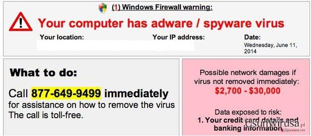 Your computer has adware / spyware virus snapshot