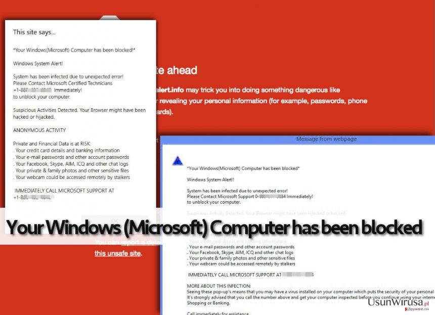 Fałszywe ostrzezenia oprogramowania Your Windows (Microsoft) Computer has been blocked