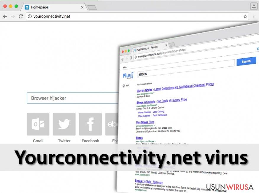 Działanie wirusa Yourconnectivity.net w przeglądarce