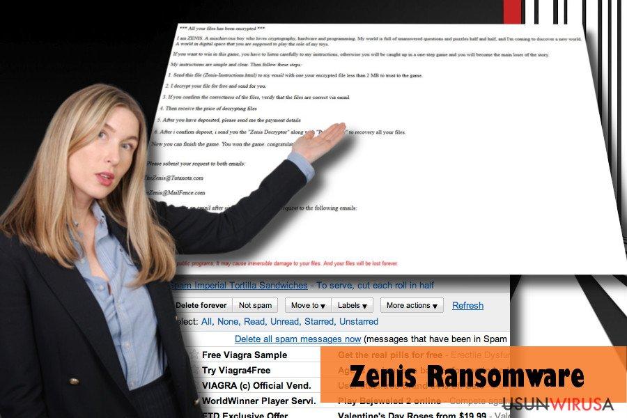 Przykład komputera zaatakowanego Zenisem