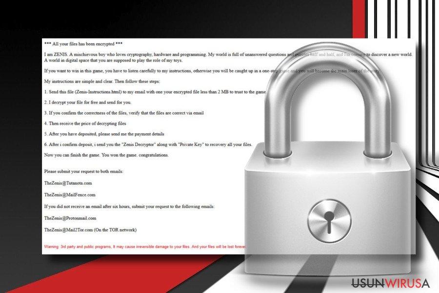 Zrzut ekranu wirusa ransomware Zenis