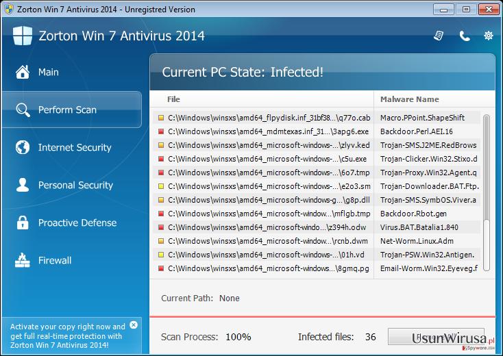 Zorton Win 7 Antivirus 2014 snapshot